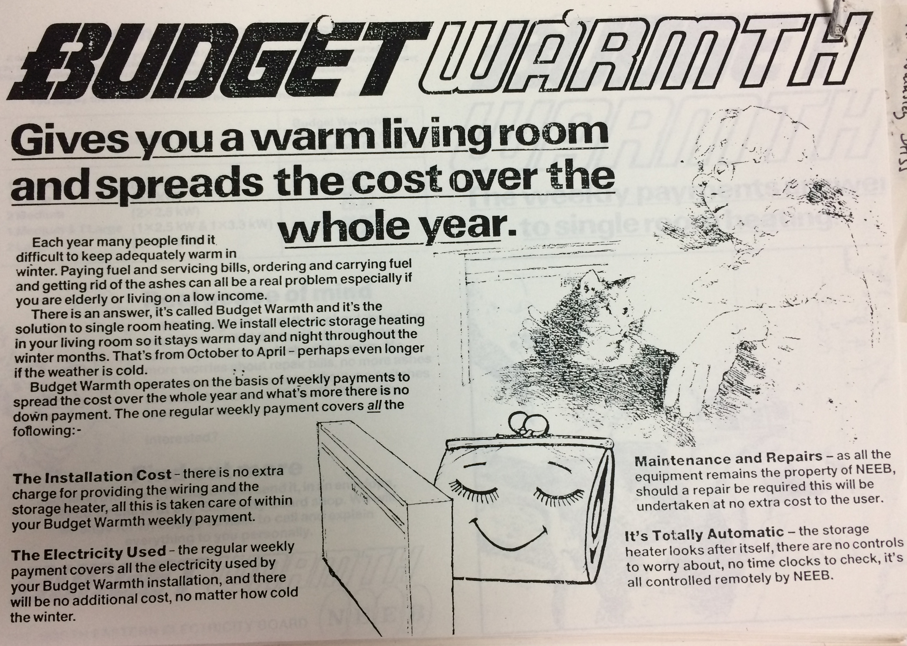 Figure 1: North Eastern Electricity Board leaflet promoting Budget Warmth (North Eastern Electricity Board, Box Number 146/157, 1986, National Archives, London) P. 9