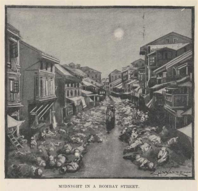"C.H. Warren (illustrator), ""Midnight in a Bombay Street"", 1898. Plate from Mark Twain (1898), Following the Equator A Journey around the World. Urbana, Illinois: Project Gutenberg. Retrieved February 10, 2019, from •	http://www.gutenberg.org/files/2895/2895-h/2895-h.htm#ch38"