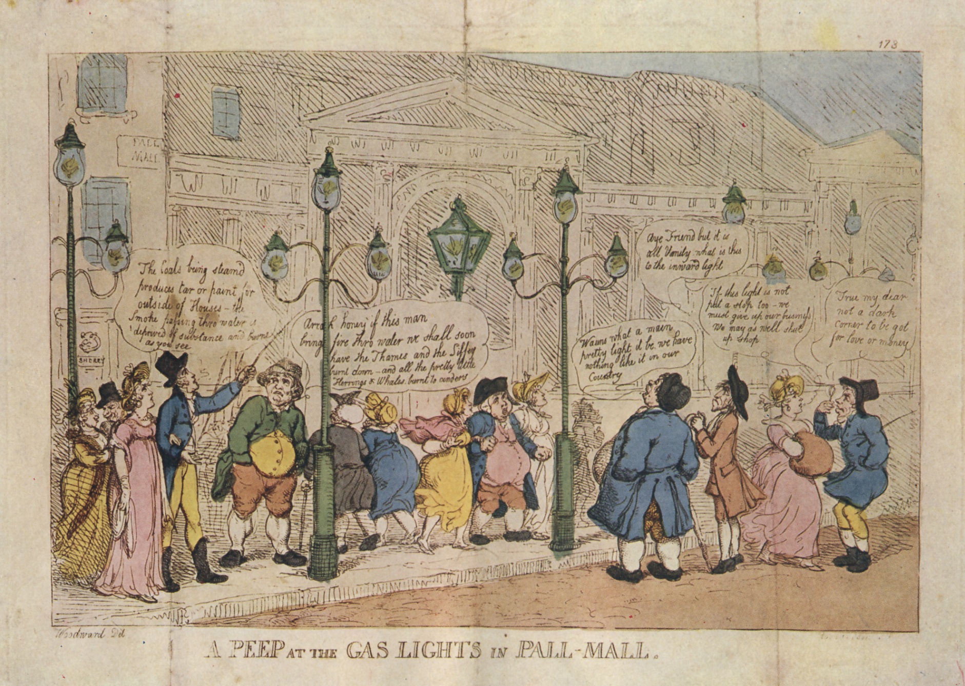 "Fig. 2: George M. Woodward, ""A Peep at the Gas Lights in Pall Mall"", 1808. Retrieved February 10, 2019, from https://commons.wikimedia.org/wiki/File:A_Peep_at_the_Gas_Lights_in_Pall_Mall.png, Public Domain US expired."