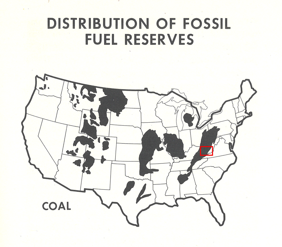 Figure 3: Distribution of Fossil Fuel Reserves: Coal. US Federal Power Commission, National Power Survey: A Report (Washington, DC: Government Printing Office, 1964), 55. The red square in the central Appalachian coalfield, added by author, marks the area in which the gasoline wildcats were concentrated.