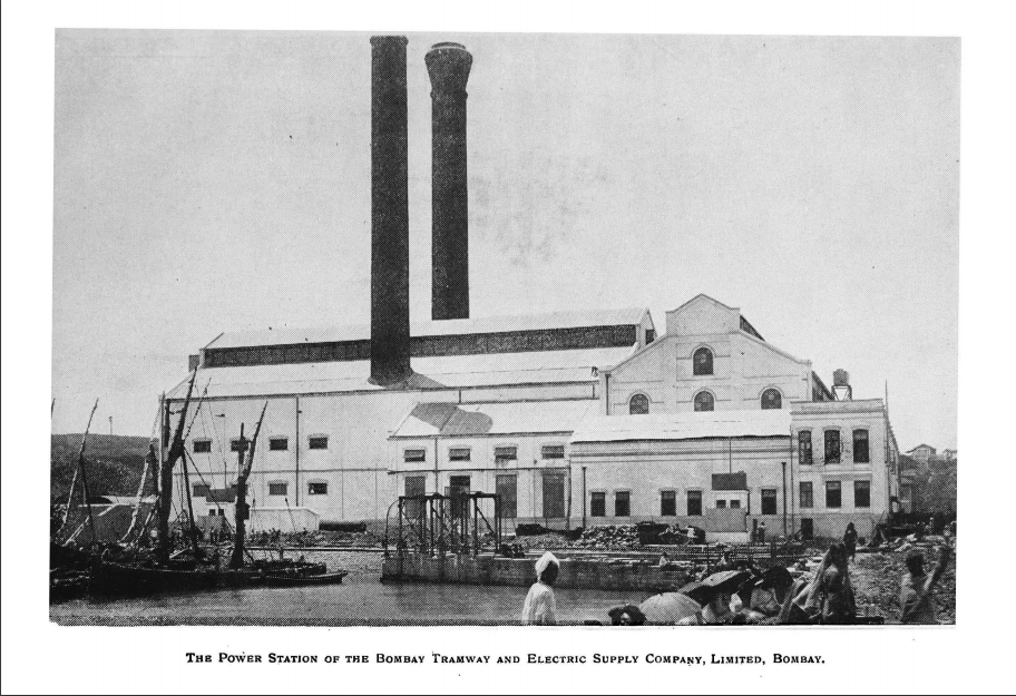 Figure 6: Power Station of Bombay Tramways and Electrical Supply Company, Bombay. S.M. Rutnagur (ed.), Electricity in India. Being a History of the Tata Hydro-Electric Project with Notes on the Mill Industry in Bombay and the Progress of Electric Drive in Indian Factories. Prop. India Textile, Bombay 1912, supplement; Retrieved February 10, 2019, from https://archive.org/details/ElectricityIndia/page/n75 (Public Domain Mark 1.0).