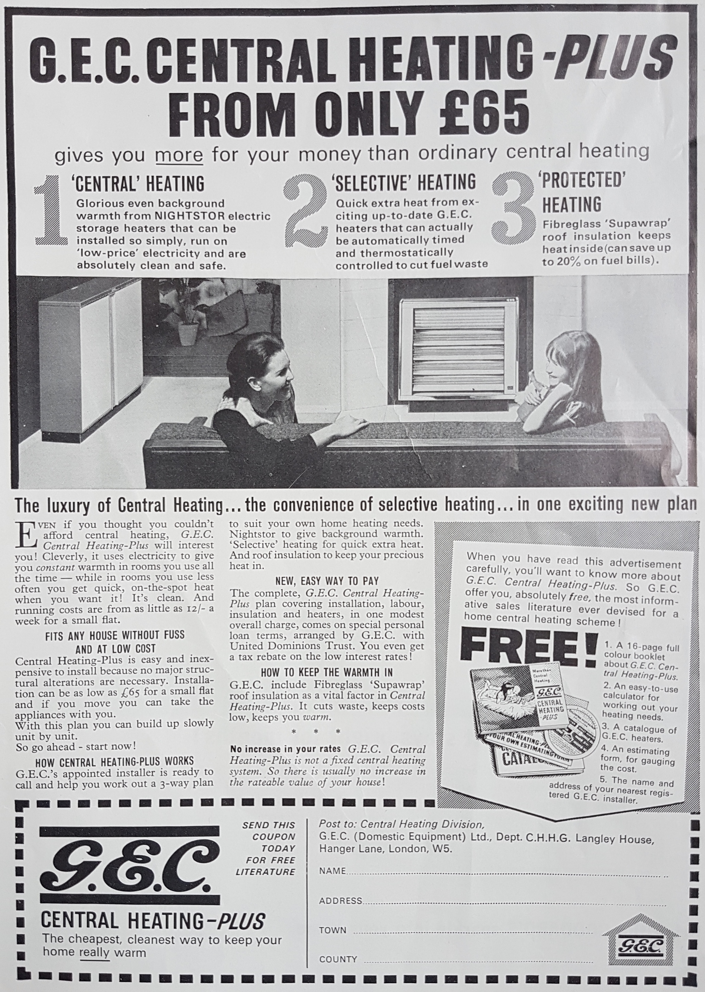 Figure 2: Advert for GEC 'Nightstor' Central Heating, October 1964. Note the 'protected' heating option (GEC, 1964).