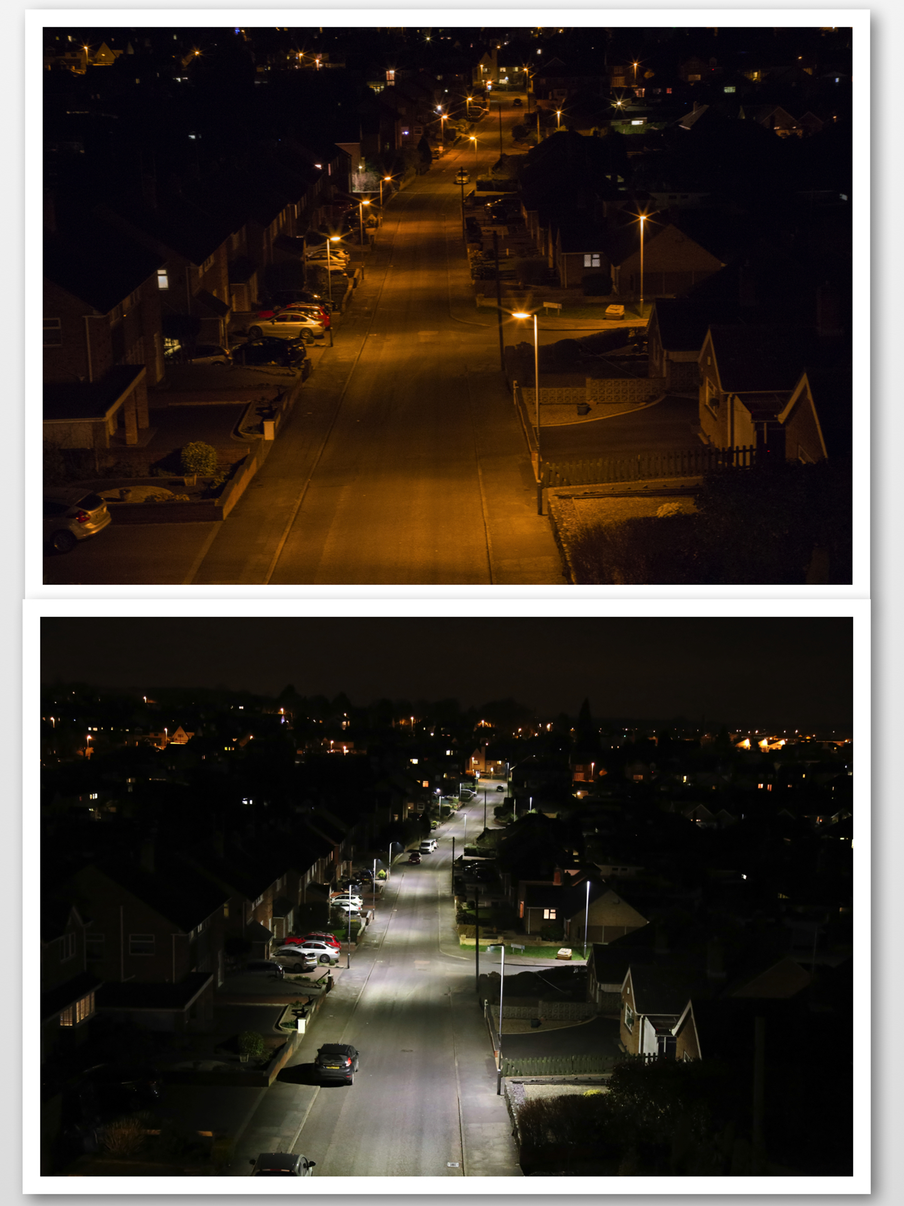 Comparison of traditional sodium lighting with LED lighting in typical British suburban street