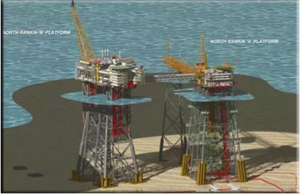 Figure 5: An example of a steel jacket – supporting structure for oil producing facility in the North Sea. Source: Puput Aryanto Risanto, Introduction to Offshore Oil and Gas Surface Facilities (2015). URL: https://www.slideshare.net/PuputAryanto/introduction-to-offshore-oil-and-gas-surface-facilities