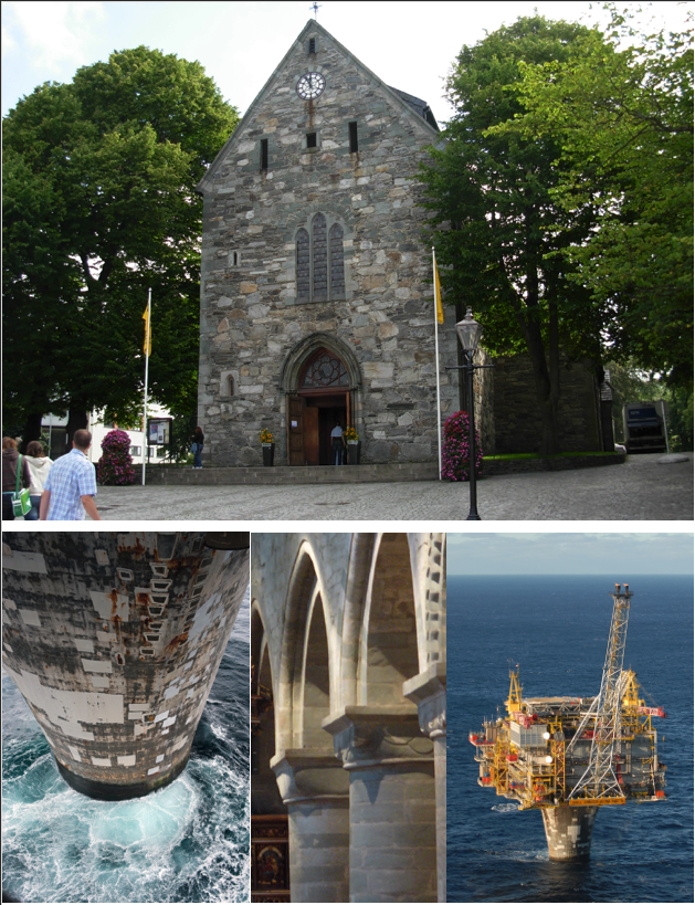 Figures 12: The Stavanger Cathedral and The Draugen platform. Sources: Wikimedia Commons and Draugen A/S Norske Shell.